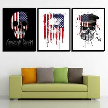 Simple Modular Pictures Creative Poster Prints American Flag Skeleton Bedroom Home Decor Nordic Wall Art Letter Canvas Painting(China)