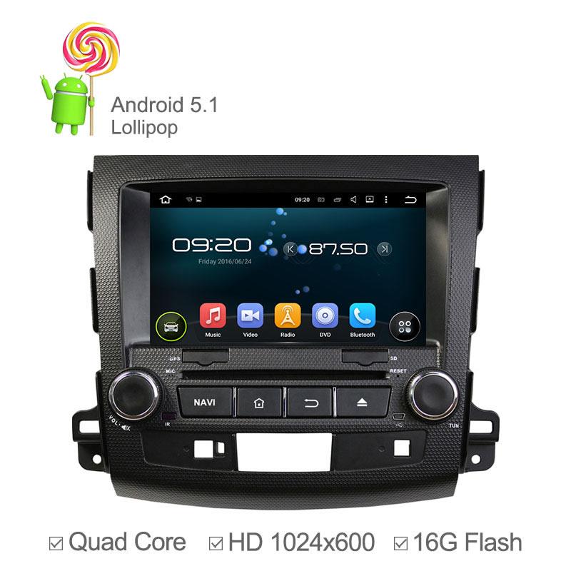 Android 5.1 Car DVD for Mitsubishi Outlander PEUGEOT 4007V Citroen C-Crosser Multimedia Headunit Quad Core GPS Sat Navi Radio штатная магнитола farcar s160 для mitsubishi outlander xl citroen c crosser peugeot 4007 на android m056
