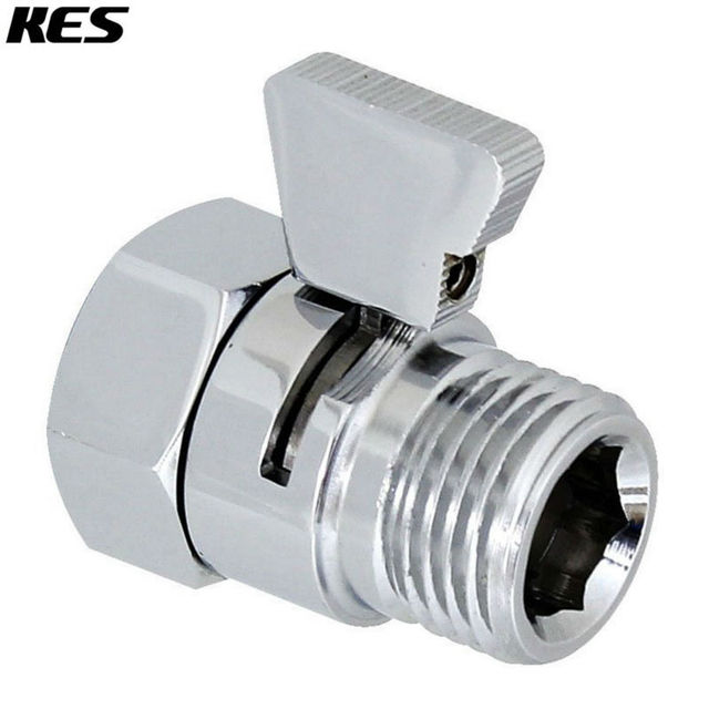 Kes K1140b3 Shower Head Shut Off Valve Br With Metal Handle Polished Chrome