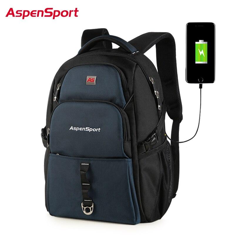 Mochilas AspenSport para hombres con carga USB y antirrobo mochila para portátil resistente al agua para hombre bolsa de menos de 17 pulgadas