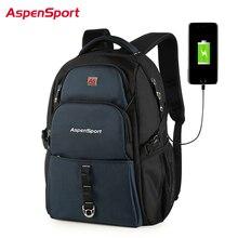 Plecak AspenSport dla mężczyzn z ładowaniem USB i kradzieżą plecaki podróżne męski wodoodporny worek pasuje do laptopa 17 Cal