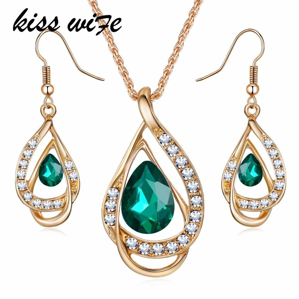 KISSWIFE New Elegant Jewelry sets Austrian Crystal Chain Drop Pendant Jewelry Sets Necklace Earrings Gift for Lady