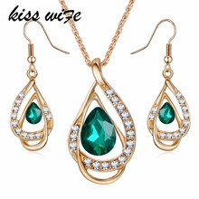 KISSWIFE New Elegant Jewelry sets Austrian Crystal Chain Drop Pendant Jewelry Sets Necklace Earrings Gift for Lady(China)