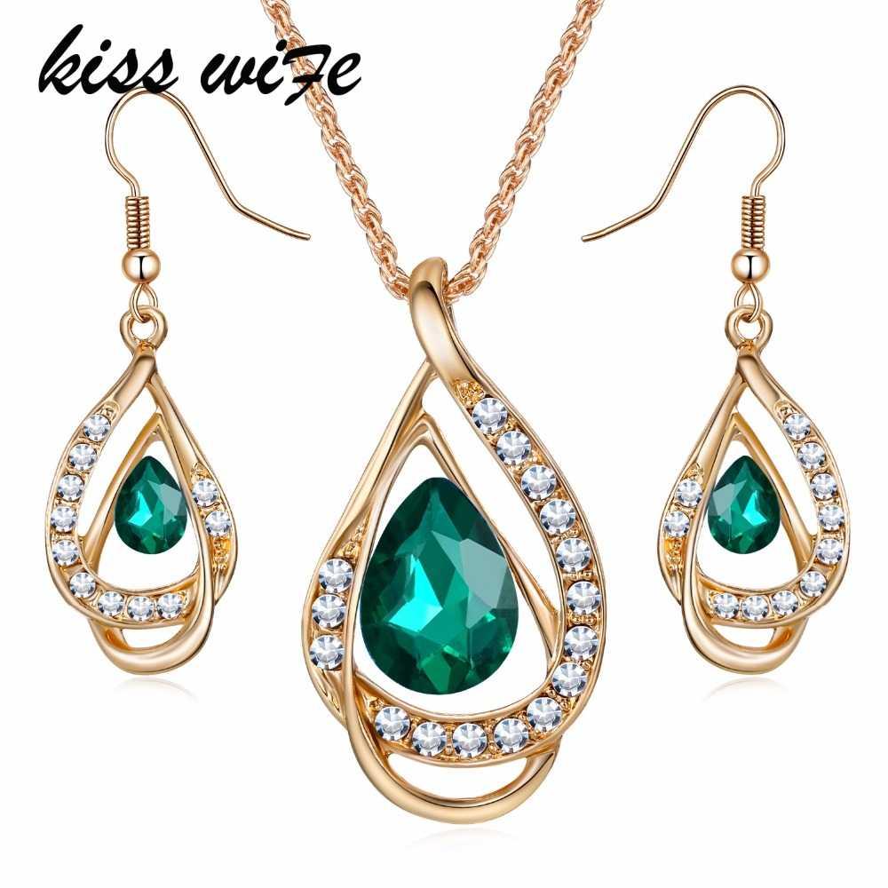 KISSWIFE nowe eleganckie zestawy biżuterii austriacki kryształ wiszący łańcuszek wisiorek zestawy biżuterii naszyjnik kolczyki prezent dla pani