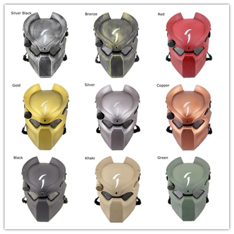 Alien vs. Predator Mask with Light Halloween Cosplay Costume CS War Game Props Outdoor Protection Tactical Helmet