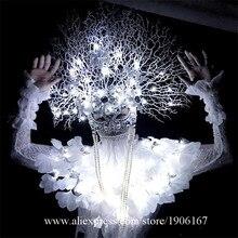 Новые белый свет ветви Костюмы этап Костюмы для бальных танцев костюм вечерние Рождество производительность DJ певица одежда танцевальная команда костюм