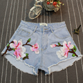 Verão Fino Moda Das Mulheres Flor Azul Bordado Shorts Jeans de Cintura Alta, ocasional Rasgado Buraco Casuais Calções Quentes
