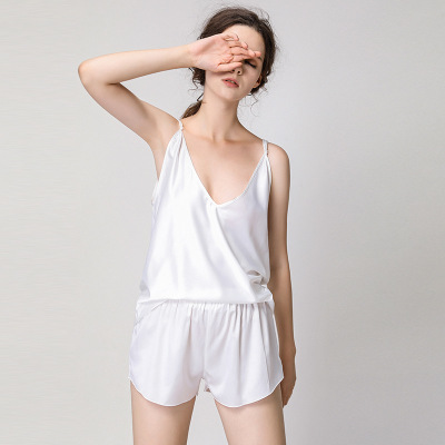 Women Summer Sexy   Pajama     Sets   Solid Satin Spaghetti Strap Cami Top and Shorts   Pajama     Set   Hot Deep V-Neck Sleepwear Cute Homewear