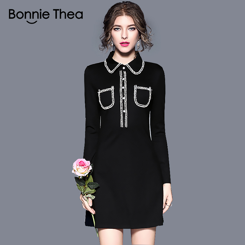 Bonnie Thea women winter black Elegant dress vestidos female mini evening Party dress office ladies