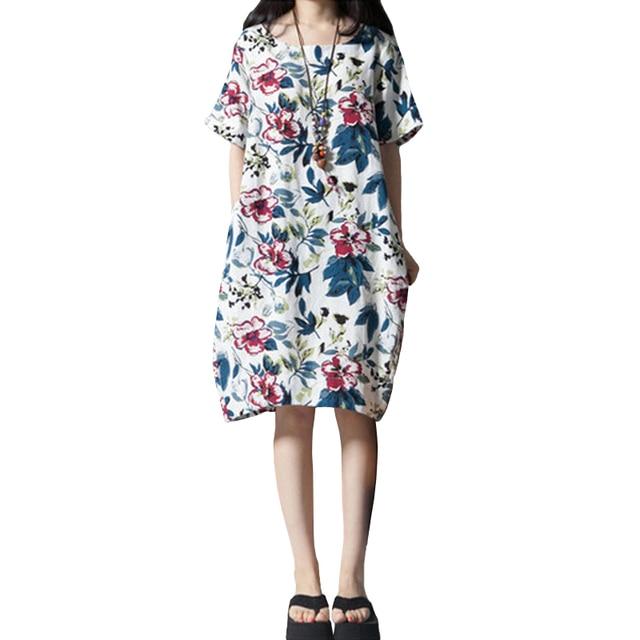 a0edbe804bd7f Vintage Women Loose Cotton Dress Ethnic Floral Print Pockets Short Sleeve  Casual Loose Dress Plus Size Beach Dress 5XL White