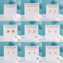 With Paper Card New Stud Earrings Simple Fashion Freshwater Pearl Crescent Moon Alloy Women Daily Earring Jewelry