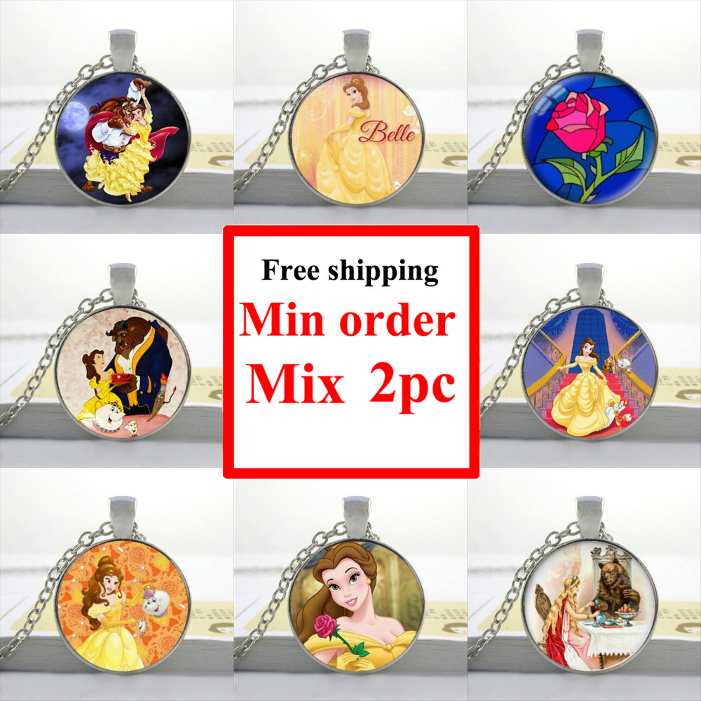 2016 Glass Cabochon Necklace Beauty And The Beast Pendant Beauty And The Beast Jewelry HZ1