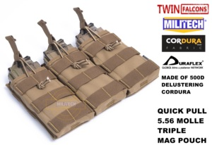 Image 5 - MILITECH TWINFALCONS TW Delustered Hypalon לשלושה M855 פתוח למעלה Mag תיק MOLLE מגזין פאוץ צבאי לחימה 5.56x45 אחסון
