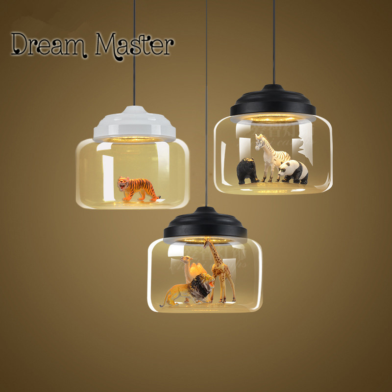 Nordic simple animal glass chandelier living room coffee bar bar Chandelier Postage free