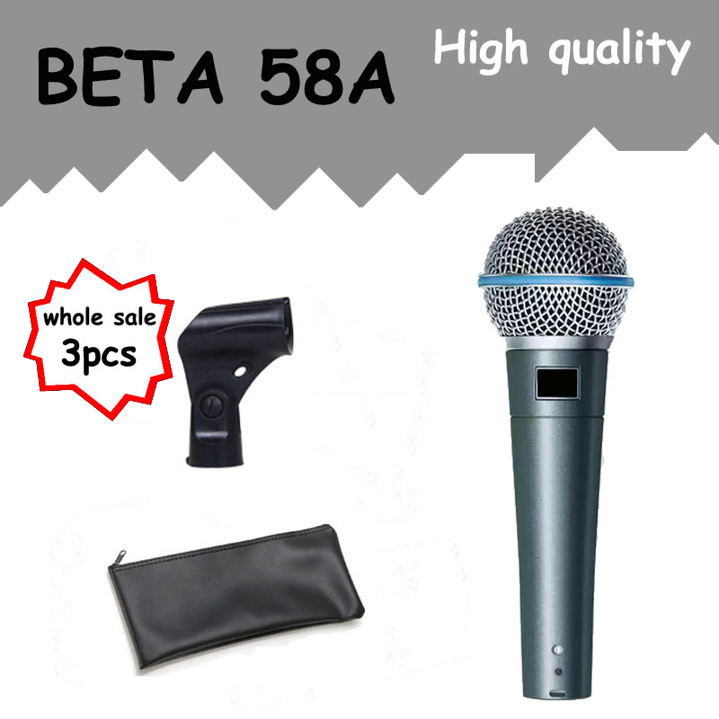 3pcs Wholesale High Quality Beta 58 58A Clear Sound Handheld Wired Karaoke Microphone