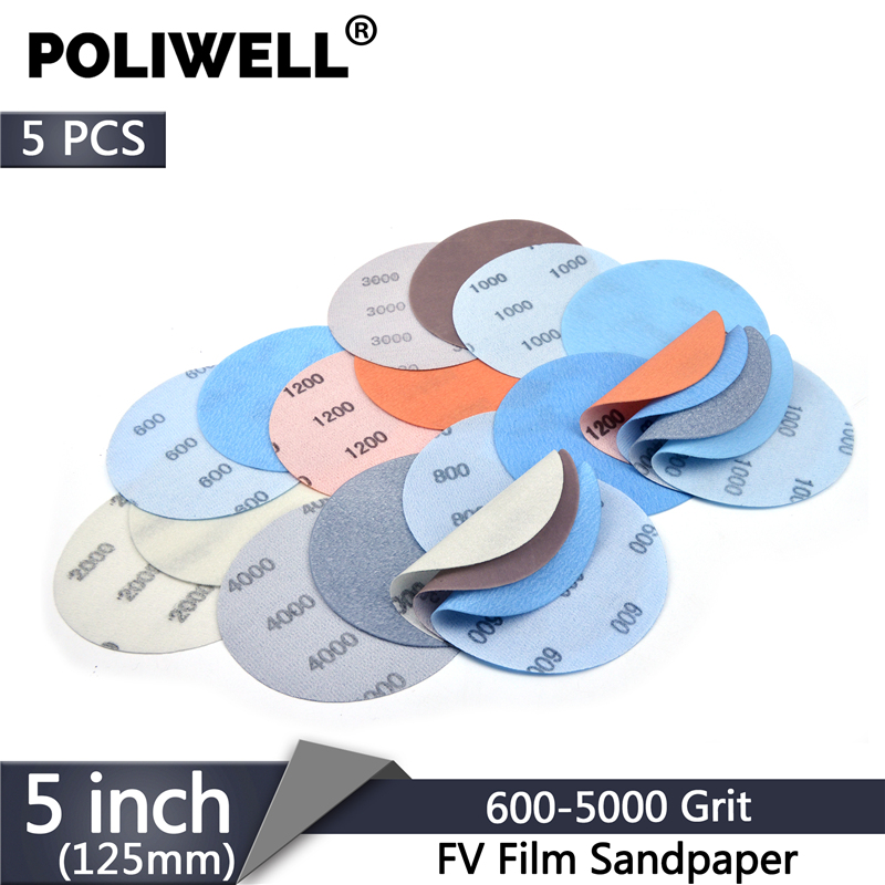 POLIWELL 5Pcs 125 Mm FV Film Superfine Sanding Discs 600~5000 Grit Soft Waterproof Sandpaper For Wet/Dry Polish Automotive Paint