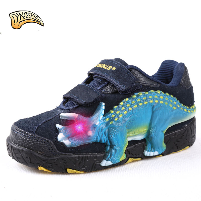Dinoskulls Boys Glowing Sneakers Tenis Infantil Kids Shoes Leather Genuine LED Luminous Sneakers 3D Dinosaur Breathable Shoes joyyou brand usb children boys girls glowing luminous sneakers teenage baby kids shoes with light up led wing school footwear