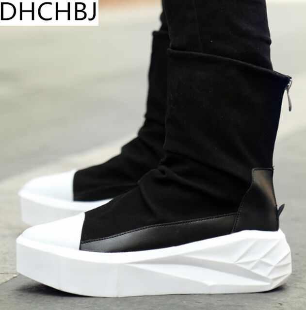 eeda7de36a1 New Owen Men 8cm Height Increasing Platform Boots Back Zip Leather Shoes  Male Mixed Colors High Top Black White Men's Boots