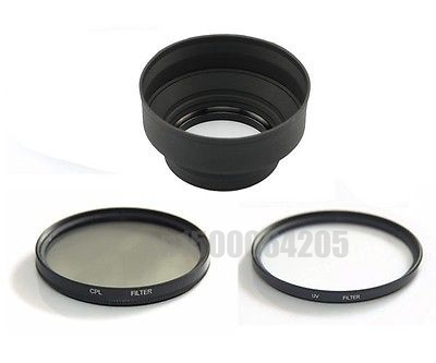 3 in 1 55mm 55 mm Rubber <font><b>Lens</b></font> Hood +UV Filter +P olarizer CPL Filter for Canon Nikon <font><b>Sony</b></font> Alpha A200 A300 <font><b>A350</b></font> A230 A330 A580 image