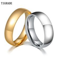 Tigrade 6mm Trendy Wedding Bands Rings For Women Love Gold Silver Color Ring Stainless Steel Men Promise Fashion Jewelry