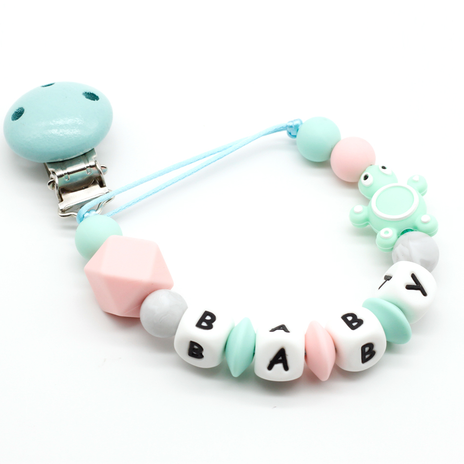 NEW Personalized Any Name Wooden Pacifier Clip, Soother Clips, Baby Shower Gifts, Teething Toy, Dummy Clips, Wood Letter Chains