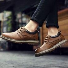 Модные британские полуботинки со шнуровкой, удобные повседневные рабочие ботинки из натуральной кожи, нескользящая износостойкая рабочая обувь, размеры 38-44