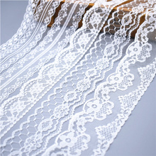 2018 Hot White Lace Ribbon Tape 10 yards Width 45MM Trim Fabric DIY Embroidered Cord For Sewing Decoration african lace fabric 10 meters lace ribbon tape 45mm wide trim fabric diy handicrafts embroidered net cord for sewing decoration african lace fabric