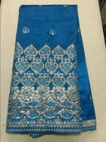 Elegant Pattern Sky Blue Embroidery African George Lace Fabric With Sequins For Party Dress OG18 1