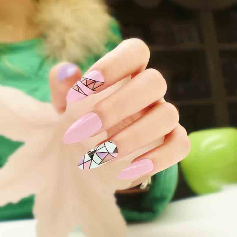 24 sets Cheap False Nails Stiletto Nails 24 Faux Ongles Full Cover ...