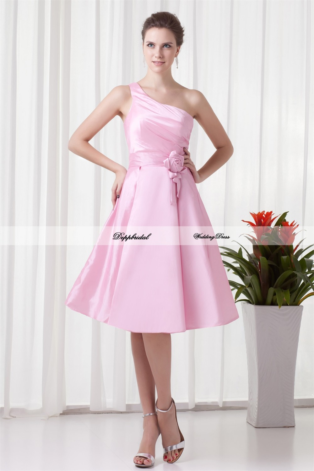 Handmade-Flower-s-A-Line-Tea-Length-One-Shoulder-Bridesmaid-Dresses-22708-80842