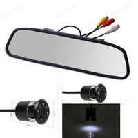 4.3 Inch TFT LCD Car Rearview Mirror Monitor With 18mm Drill Hole 8 LED Night Vision CCD Parking Rear View Camera