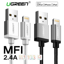 Ugreen Nylon Lightning to USB Cable for iphone 7 2.4A Fast Charger USB Data Cable for iPhone 6 5 5s iPad iPod Mobile Phone Cable