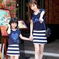 2016 Случайные Семейные Соответствующие Наряды Мать/Мама и Дочь Футболка + Платья Одежда Семья Одежда Летом