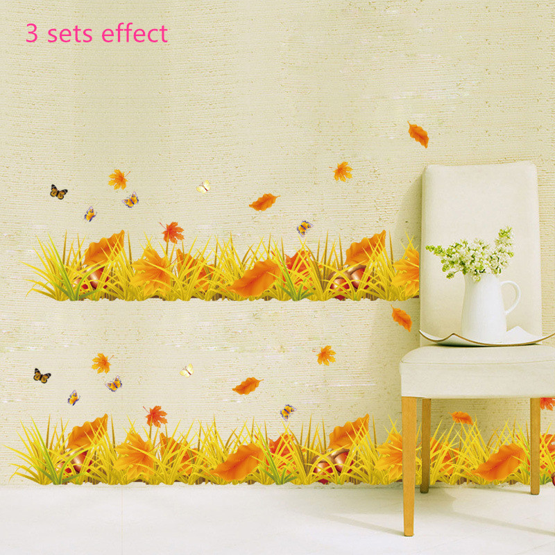 Golden yellow autumn leaves butterfly waistline baseboard wall stickers bedroom living room natural home plant decoration decals