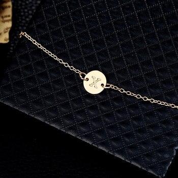 2019 Fashion Women's Bracelets Gold Colour Adjustable Metal Letters Romantic Round Bracelet Lovers Gift Party Jewelry Wholesale 4