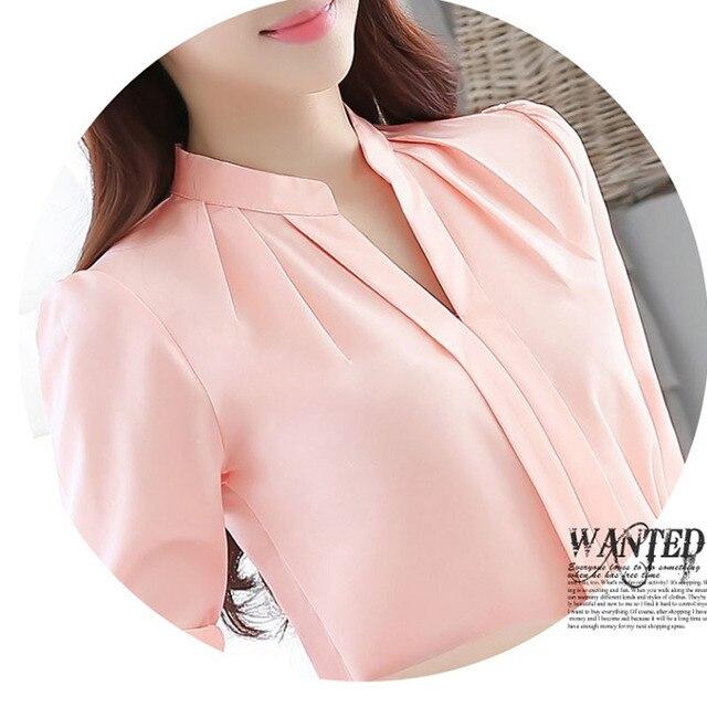 SymorHouse Hot Long Sleeve V-Neck Elegant Ladies Chiffon Blouse 0