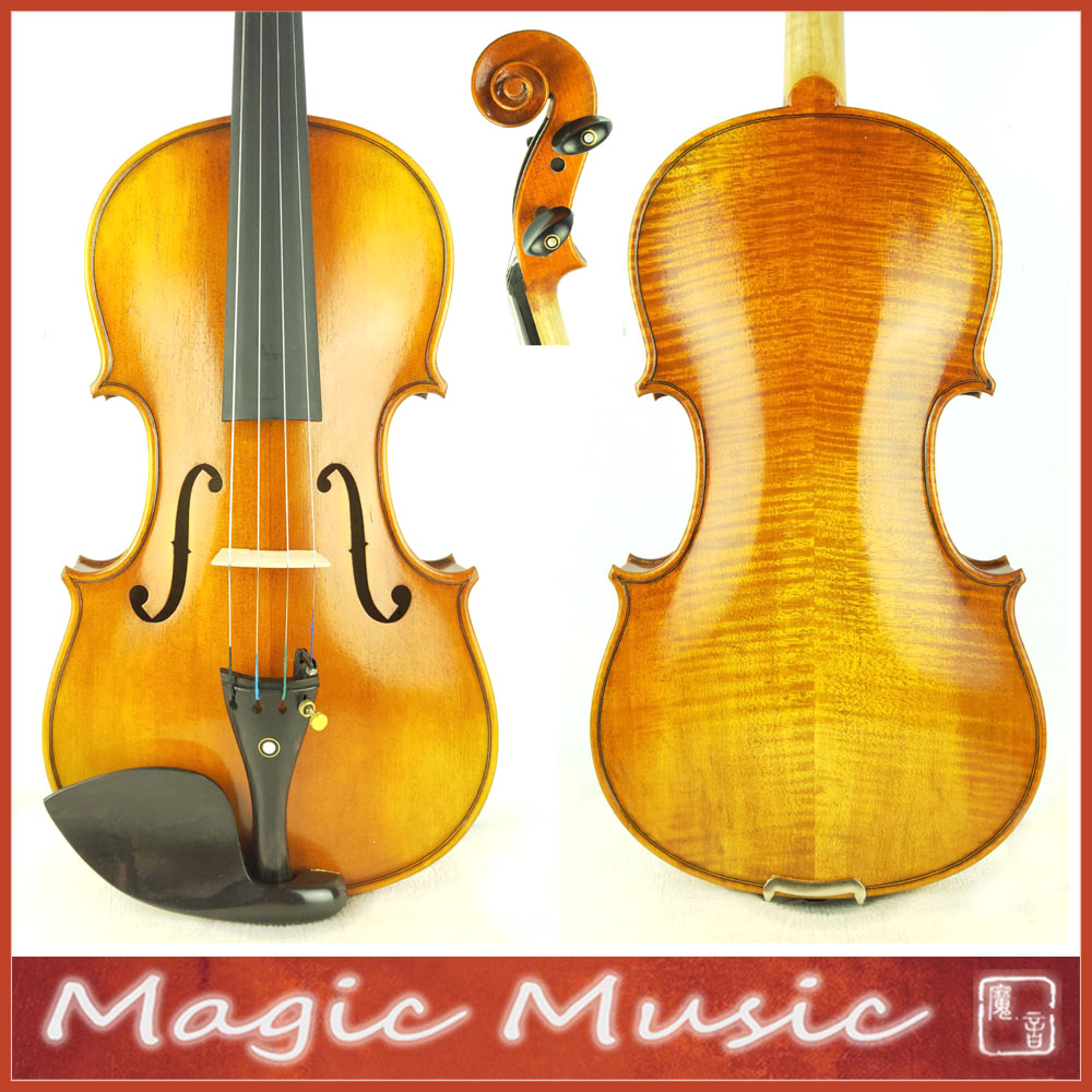 European Wood Copy of Antonius Strad Viotti 1709 Master Violin Size 4 4 With Black Oblong
