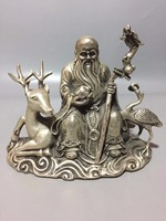 Art Collection Tibet Silver handmade Chinese longevity god statue,Home/office desk decoration Deer Crane sculpture
