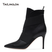 Women Pointy Toe High Heel Black Ankle Boots  Slip on Slouch Booties Ladies Winter Shoes Big Size Heels Botas 2018 2018 new holidays style ladies handmade women s high heel boots rivets spikes pointy booties party dress fashion shoes x184
