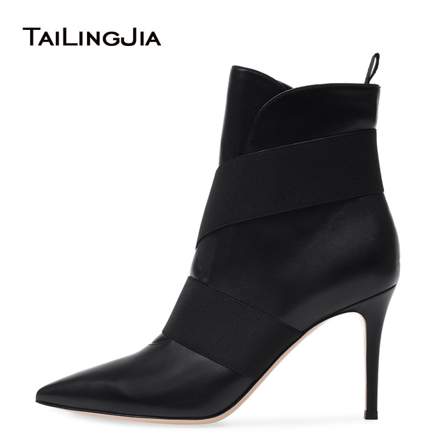 Women Pointy Toe High Heel Black Ankle Boots  Slip on Slouch Booties Ladies Winter Shoes Big Size Heels Botas 2018