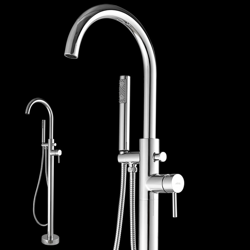 Bathtub Faucet Brass Chrome Floor Mount Bathroom Faucet Swivel Spout Single Handle Tub Filler Hand Shower Sprayer Mixer Tap 6022 chrome finished floor mounted swivel spout bathroom tub faucet single handle mixer tap