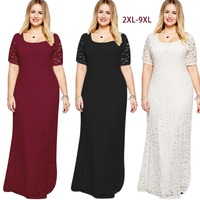 Women Elegant Embroidery Lace Floor Length Dress Short Sleeved Plus Size Dress Sexy Evening Gown