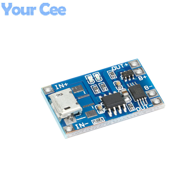 2 pcs Micro USB 5V 1A 18650 TP4056 Lithium Battery Charger Module Charging Board With Protection Dual Functions 1A Li-ion Cell
