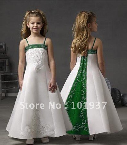 Custom made spaghetti straps white and green party dresses for girls custom made spaghetti straps white and green party dresses for girls pageant dress flower girl dresses mightylinksfo