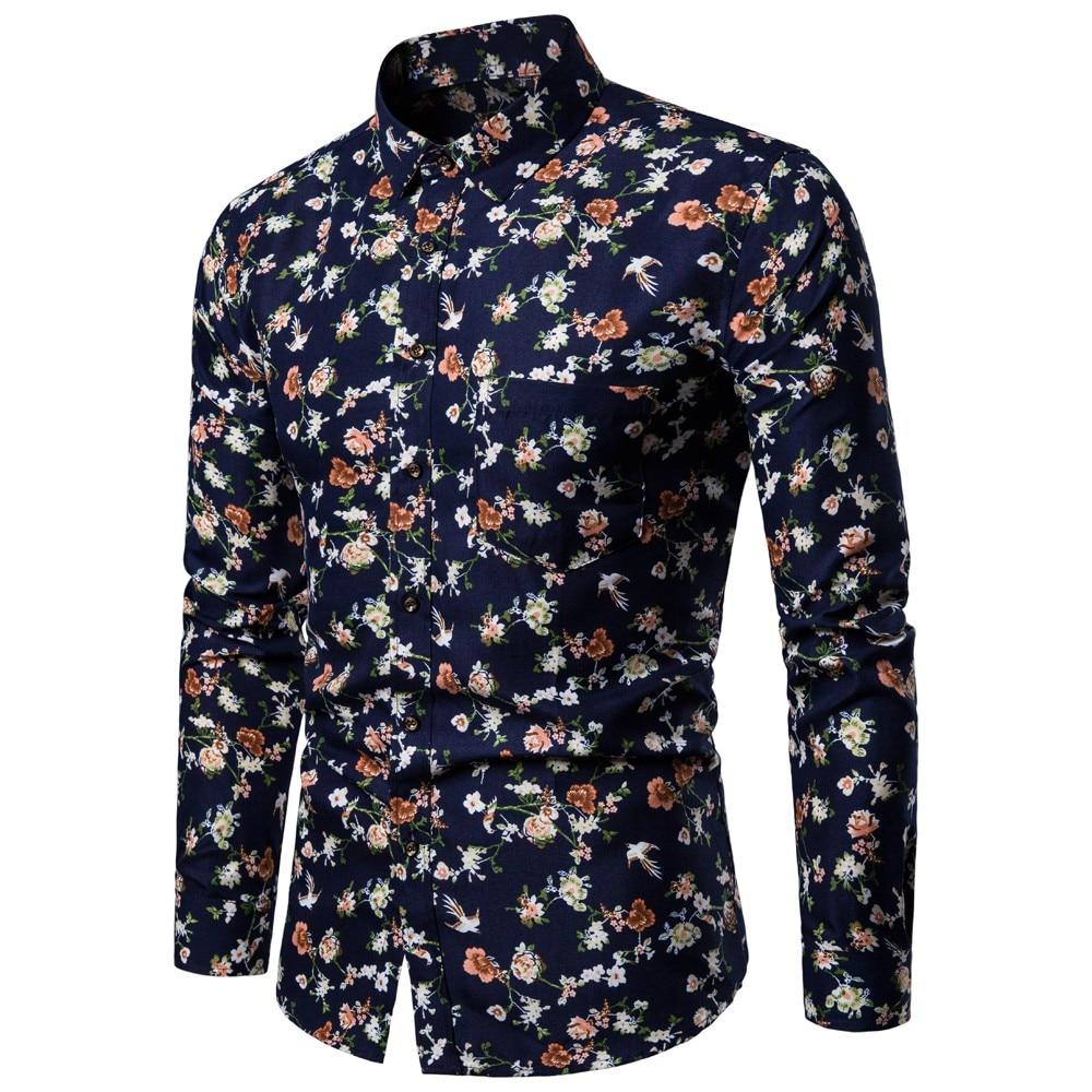 snowshine YLW Men's New Pattern Casual Fashion Lapel Printing Long Sleeved Shirt free shipping 1