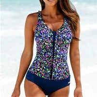 2019 One Piece Swimsuit Women Plus Size Swimwear Female Printed Bathing Suit Monokini Bodysuit Beach Wear Retro Swimwear Badpak