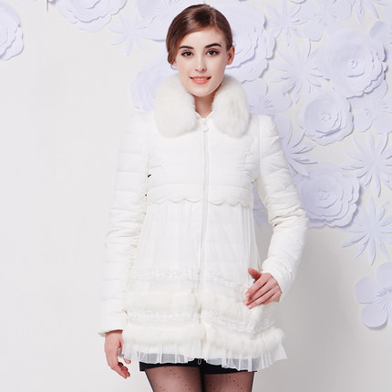 New 2015 Women Fur Collar Duck Coats Fashion Winter Lace Patchwork A-Line Jackets Women Slim Wadded Parkas H4643