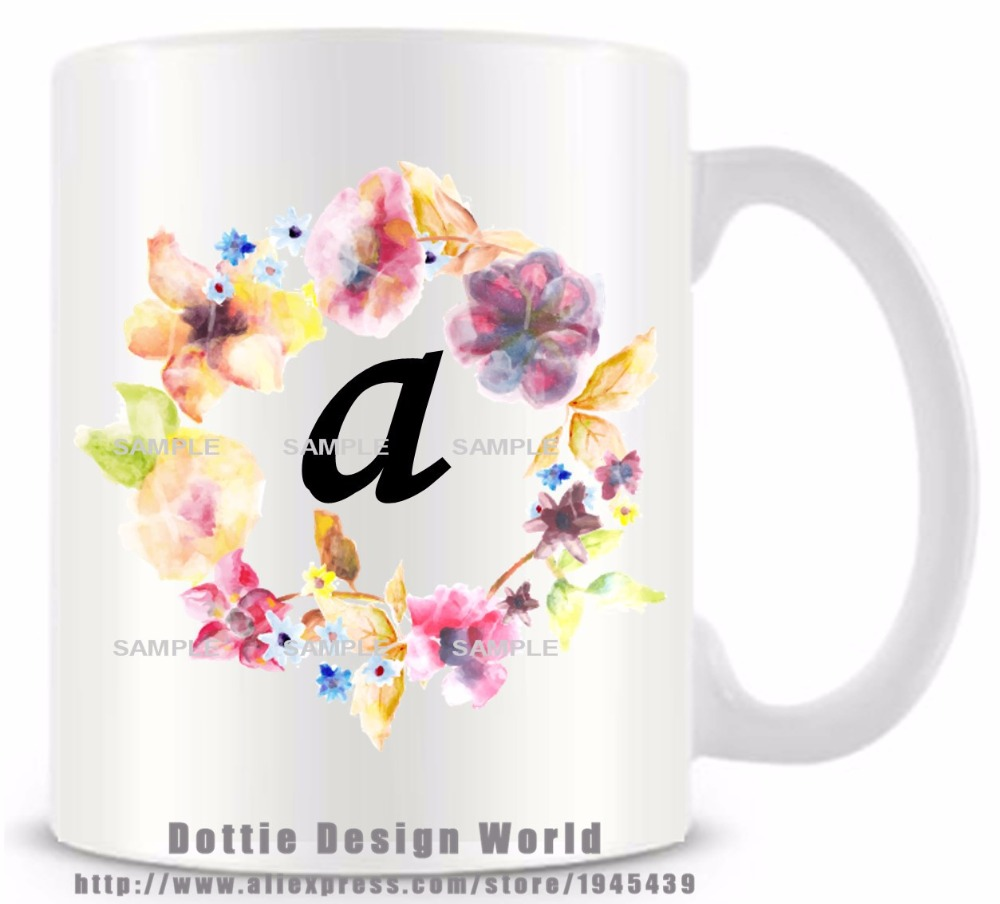 Diy monogram floral alphabet a ceramic white coffee tea for Diy monogram gifts