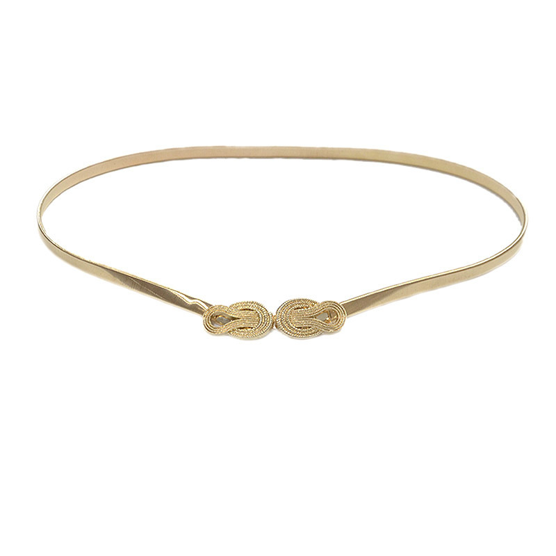 Elastic Leather Cummerbund Gold Cinch Belt