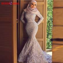 Suadi Arabia Muslim Evening Dress with Hijab 2016 Mermaid High Neck Long Sleeves Lace Prom Dresses Formal Gown robe de soiree